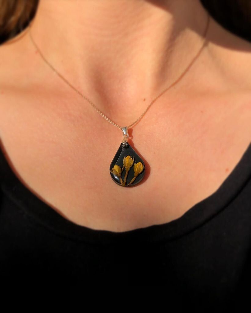 Yellow Rosebuds Necklace