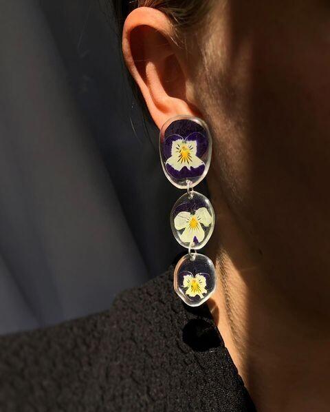 Pansy Chain Earrings