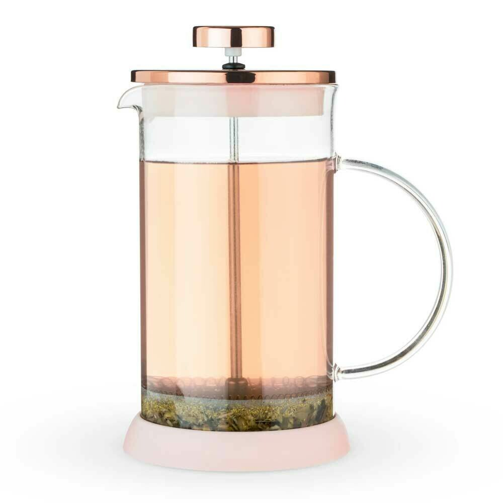 Riley™ Mini Glass Tea Press Pot by Pinky Up® - Rose Gold