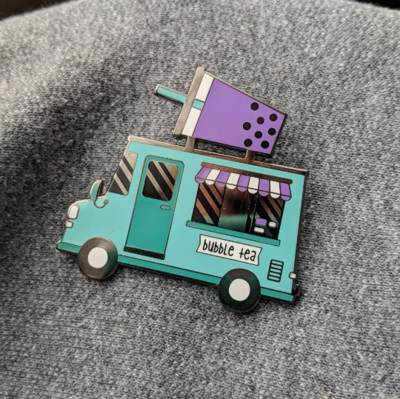Bubble Tea Food Truck Hard Enamel Pin