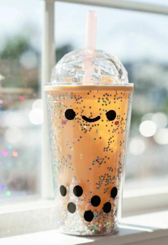 Glitter Kawaii Boba Milk Tea Tumbler