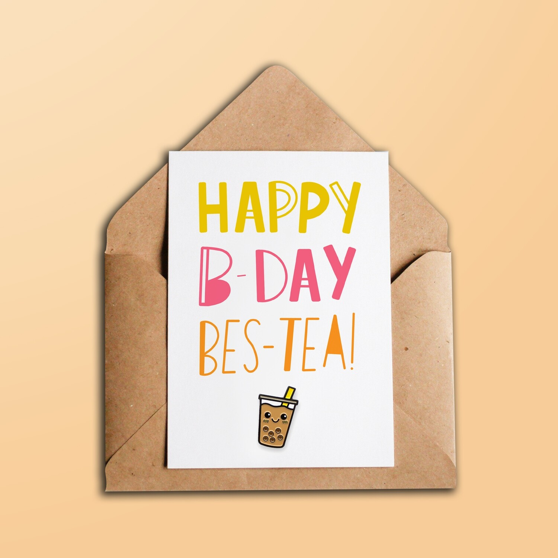 Pin Pin Pals - Happy Birthday Bes-Tea - Enamel Pin Card