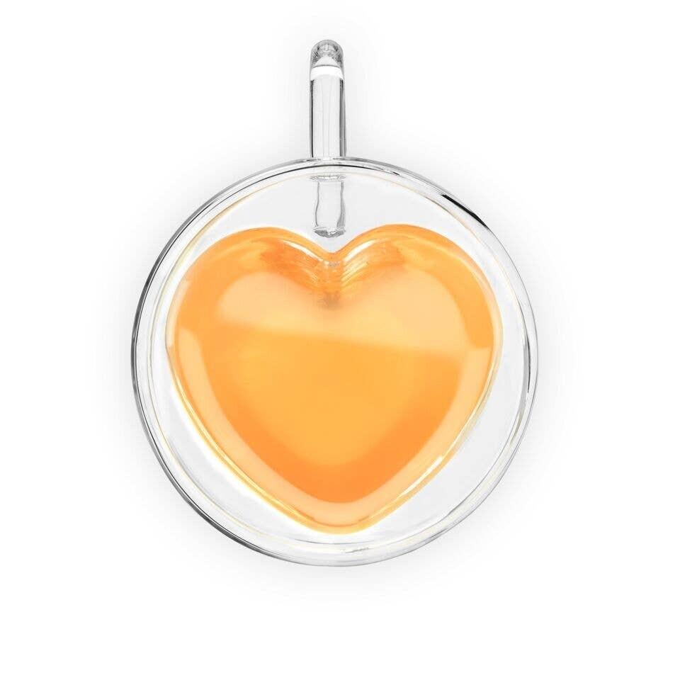 Kendall Heart Double Walled Glass Tea Mug