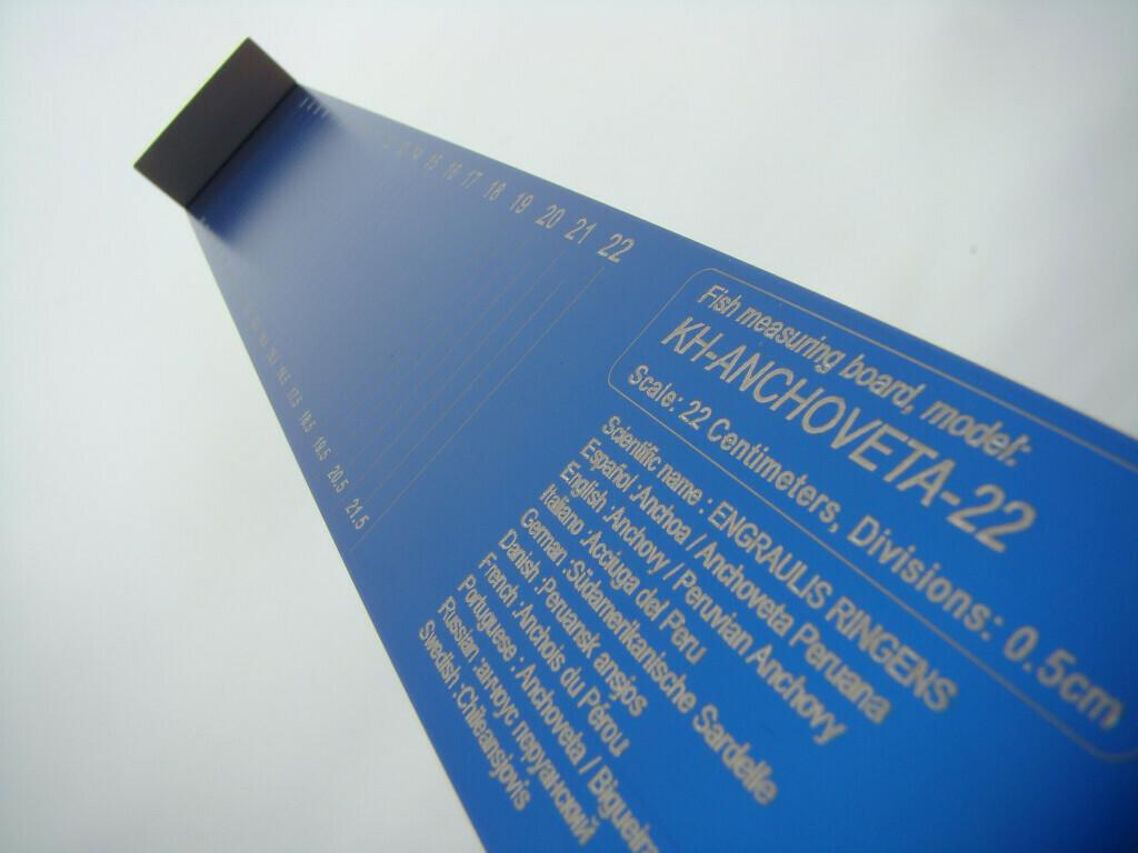 Ictiómetro de doble lectura para medición de peces hasta 35 cm y anchoveta