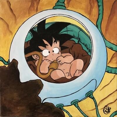 "Cuadro ""Son Goku bebé nave"" - Manga"