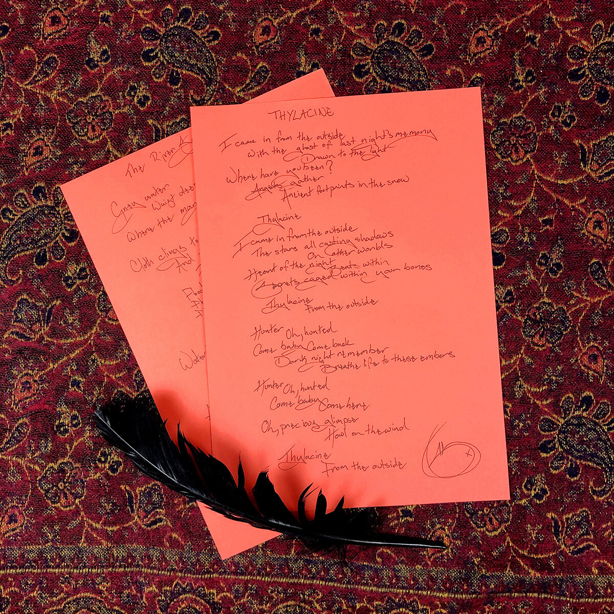 Signed, Handwritten Lyric Sheet