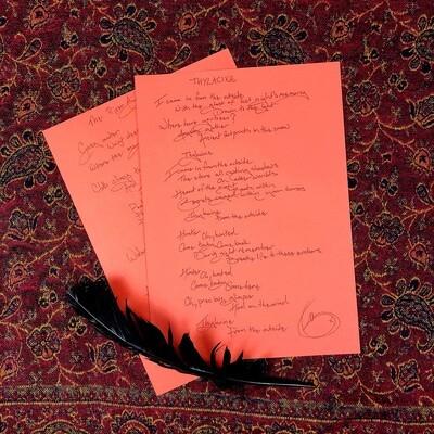 Signed, Handwritten Lyric Sheet