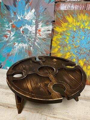 Винный столик из дерева коричневый состаренный