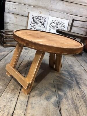 Винный столик из дерева (рыжий-коньячный состаренный)
