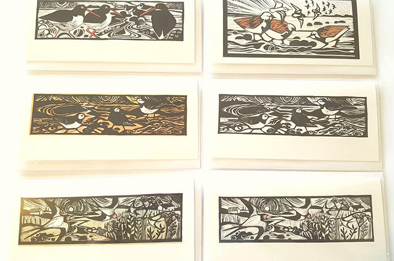 Cards - Linocut Birds - Pack 6