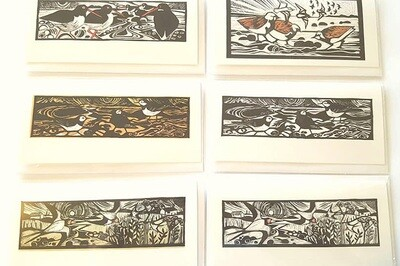 Cards - Linocut Birds - Pack 6