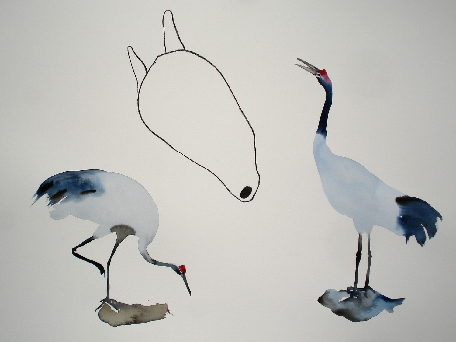 two cranes and an incarnate