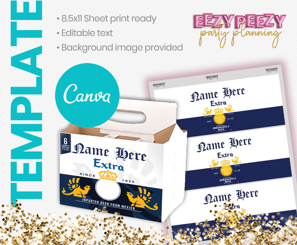 Ezpz Drinks. Beer. Rona. Editable label and box  Canva template.