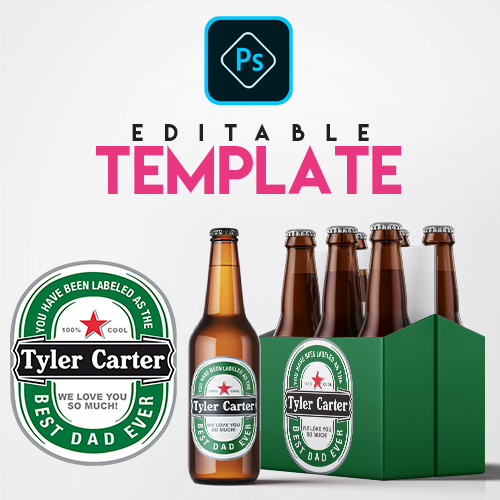 Ezpz Drinks. Beer. Green. Editable label and box Photoshop template.