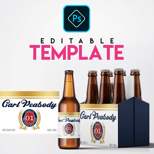 Ezpz Drinks. Beer. Lite. Editable label and box Photoshop template.
