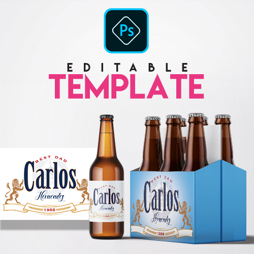 Ezpz Drinks. Beer. Model. Editable label and box Photoshop template.