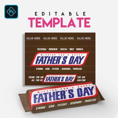 Treats . Snicker . Chocolate Candy Bar Editable Template . Photoshop
