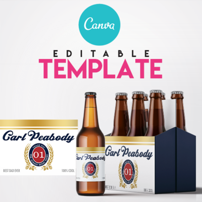 EZPZ Drinks.  Beer. Lite. Editable label and box  Canva template.