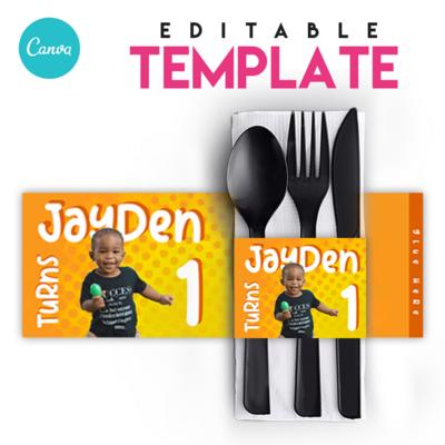 EZPZ Eats. Napkin Sleeve . Editable Canva Template.