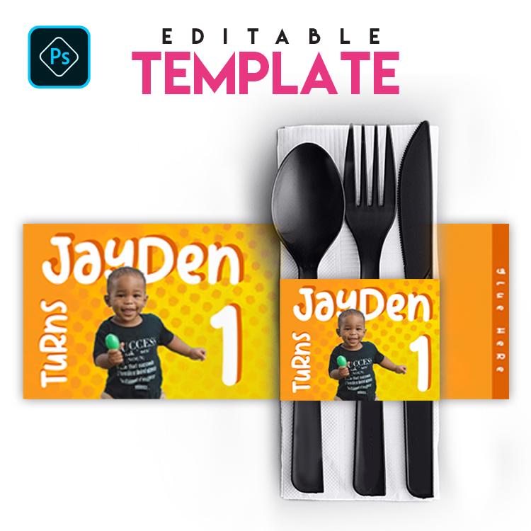 EZPZ Eats. Napkin Sleeve . Editable Photoshop Template.