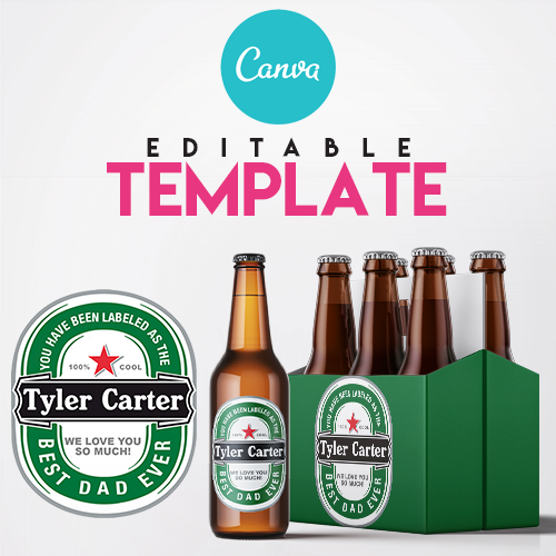 EZPZ Drinks. Beer. Green. Editable label and box  Canva template.