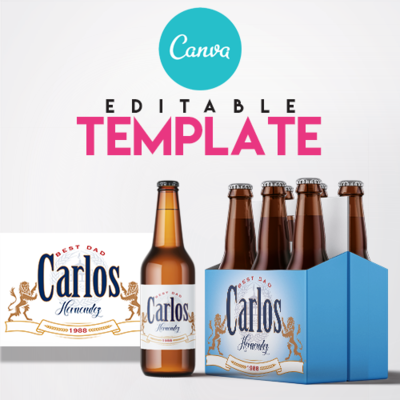 EZPZ Drinks. Beer. Model. Editable label and box Canva template.