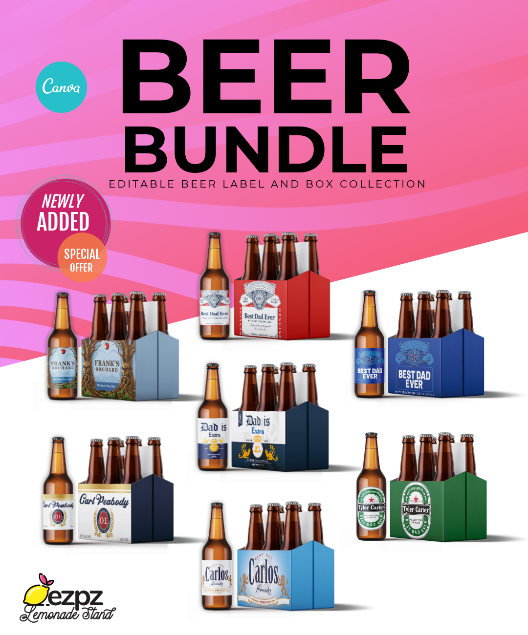 EZPZ Drinks. Beer . Bundle. Canva Template.