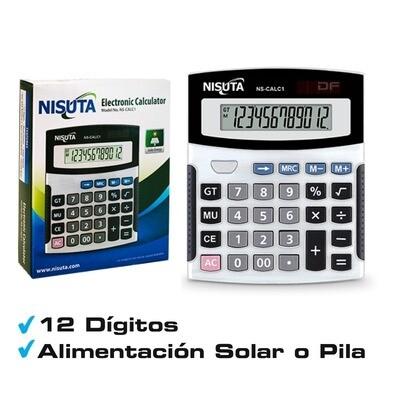 Calculadora Digital 12 Digitos Nisuta Ns-calc2 Solar O Pilas