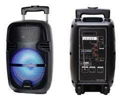 """BAFLE AMPLIFICADO 8"""" USB/BT/CON LUCES LED, CON RUEDAS,CON MICROFONO, CON BATERIA"""