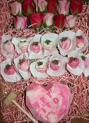 Gift Box (Dozen Roses, Dozen Berries, Breakable Heart)