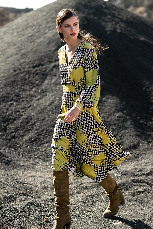 Long dress in pistache print