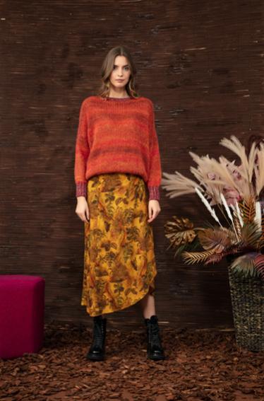 Long wrap skirt in winter jungle print
