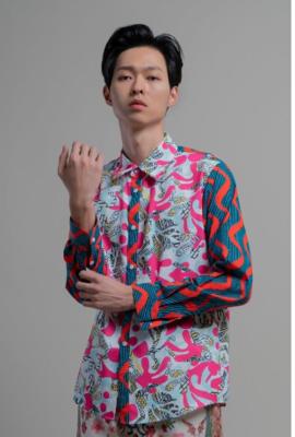 Mix match print shirt