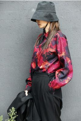 a rose-print shirt