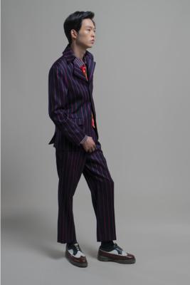 Stripeset-up wool jacket