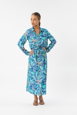 "Dress in ""night tropic"" print"