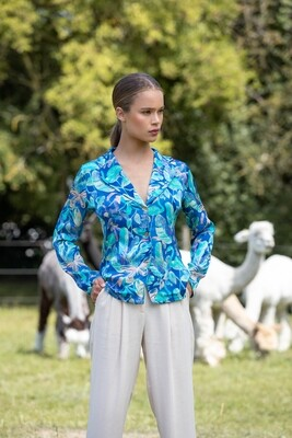 "Blouse in ""Night tropic"" print"