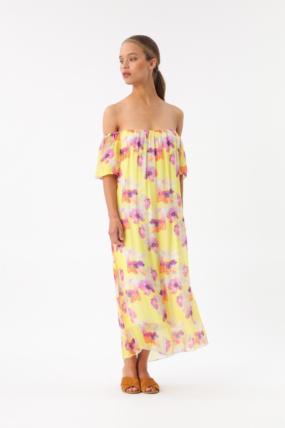 Yellow Silk Dress with painted flowers