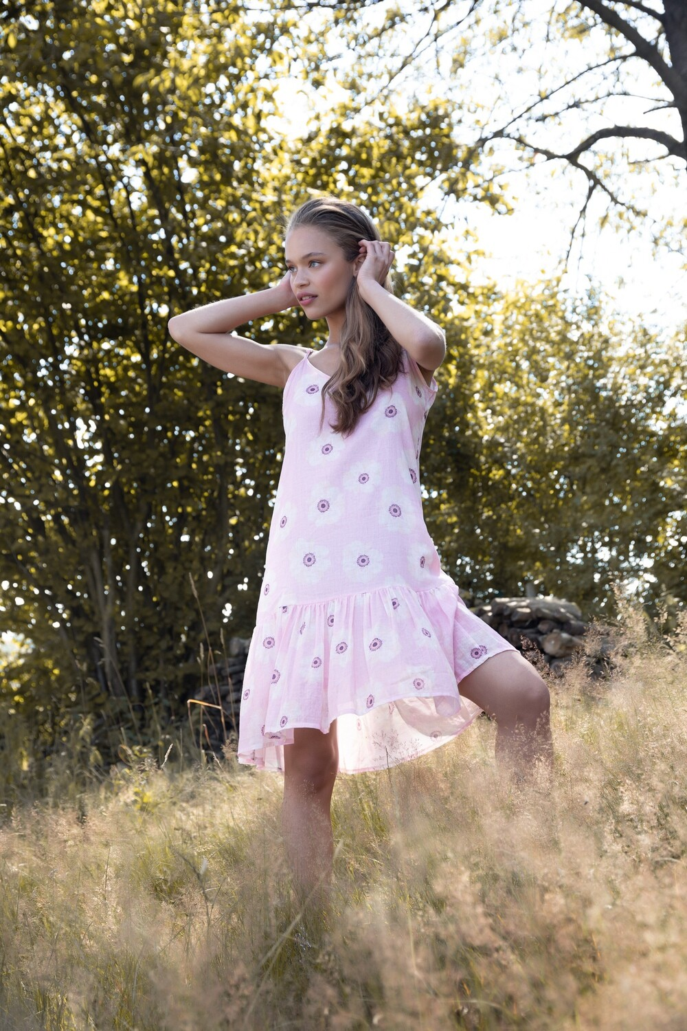 Sunbathing dress with pink flowers
