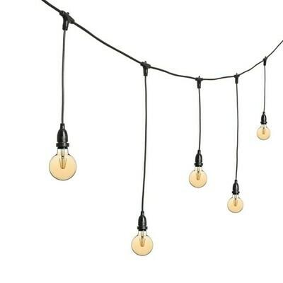 Guirlande à suspension de 10m avec lampe décorative (couleur bougie)