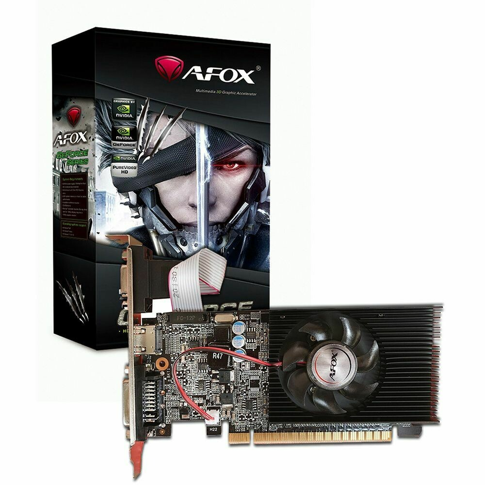 AFOX GeForce GT210 1GB 64bit DDR3 Low Profile Single Fan PCI-E Graphics Card (Low Profile Brackets Included) - DVI/HDMI/VGA
