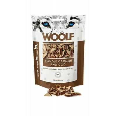 WOOLF Triangle of Rabbit Cod triušienos ir menkės skanėstai 100 g