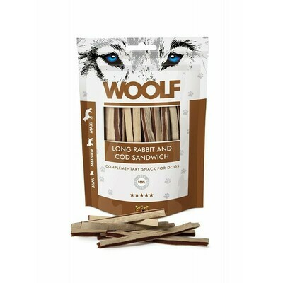 WOOLF Long Rabbit and Cod sandwitch triušienos ir menkės skanėstai 100 g