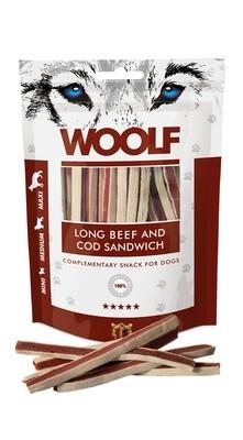 WOOLF Long Beef and Cod sandwitch jautienos ir menkės skanėstai 100 g