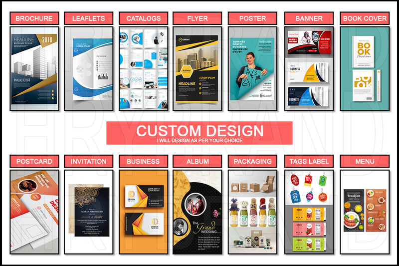 I will Design Brochure, Leaflets, Poster, Banner, Book Cover, Postcard, Invitation Card, Business Card, Catalogs, Label, Tags And Many More