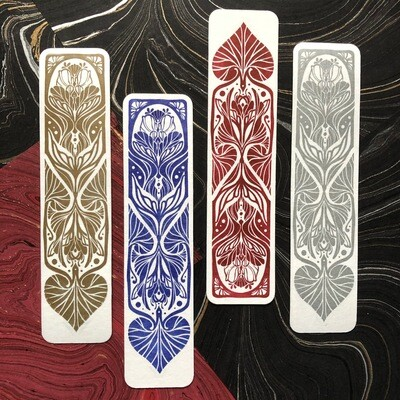 Linoprint bookmark (pick colour in options)