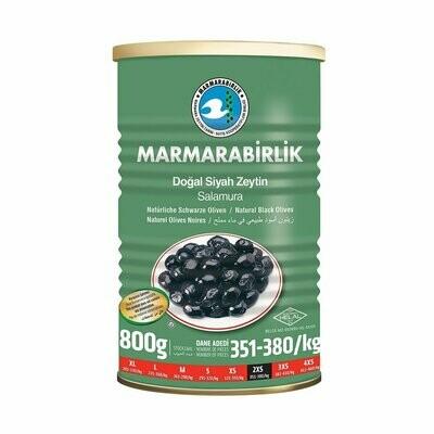 Tuerkische Schwarze Oliven Marmarabirlik in Salzlake- Dose