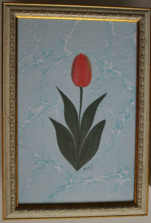 Tulpe- Ebrukunst-Marmorieren
