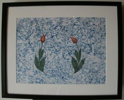 Zwei Tulpen- Ebrukunst-Marmorieren
