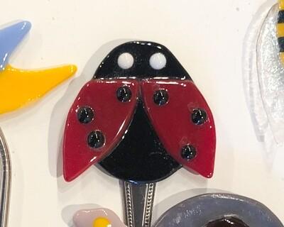 Seam-155 Fused Glass Plant Peeper Ladybug 3